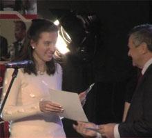 """Анита Николова е победител в категория """"Хуманитарни науки"""" в конкурса """"Студент на годината 2012"""""""